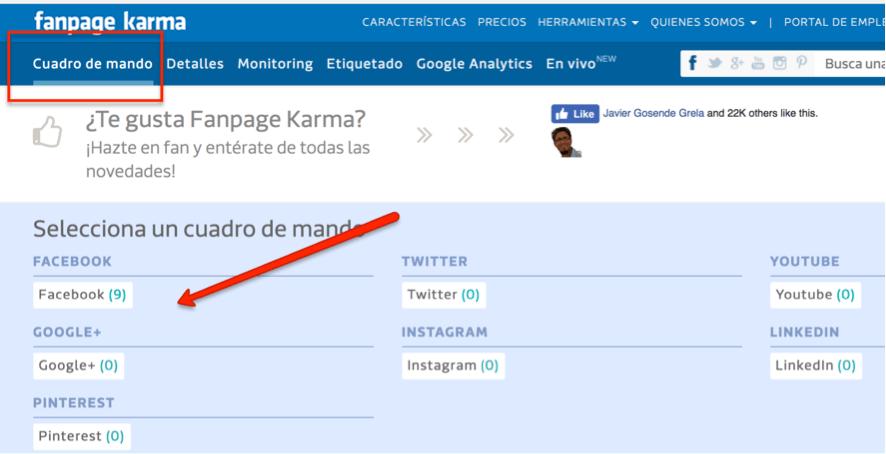 crear tableros con Fanpage Karma