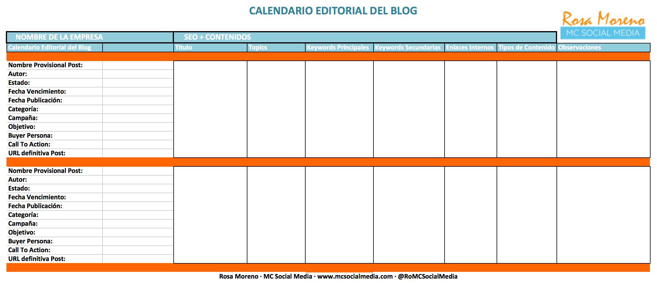 Calendario Editorial del Blog