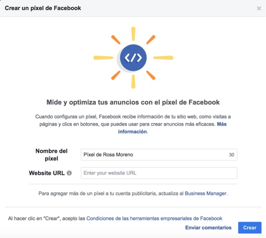 crear el pixel de facebook