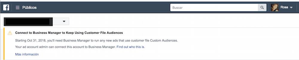 mensaje en el ads manager sobre los públicos personalizados