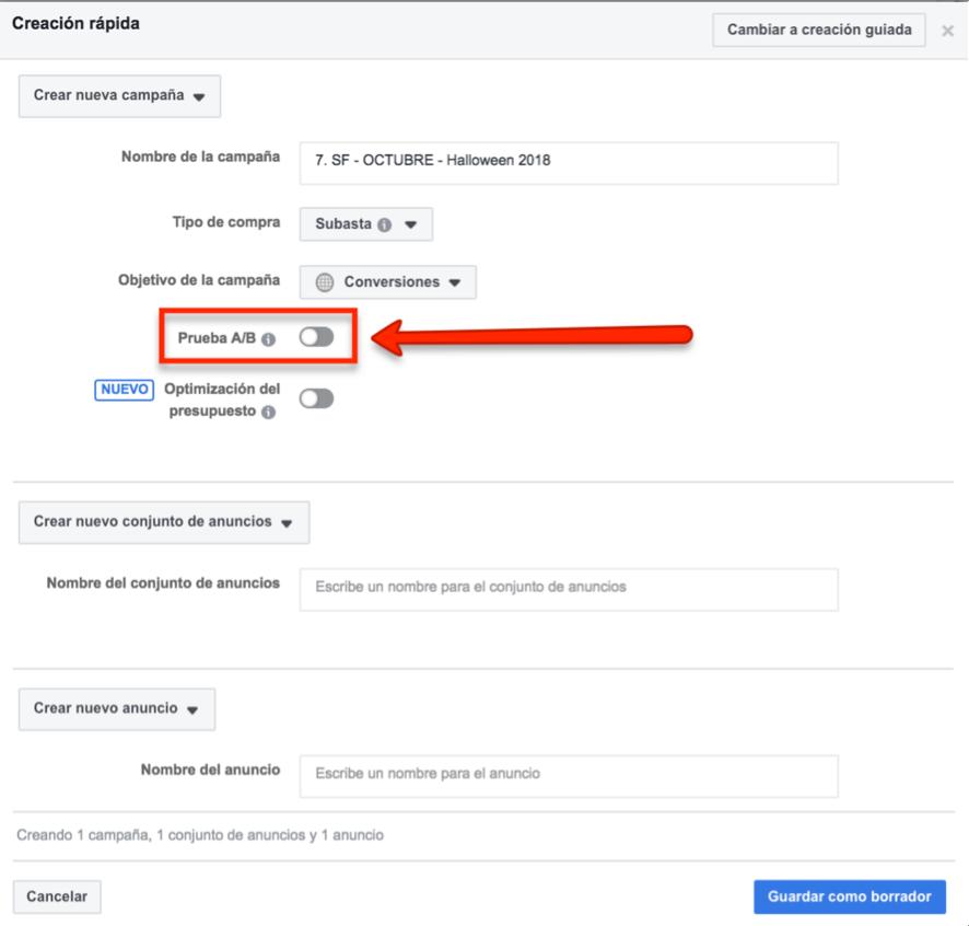 cómo crear un test A/B en Facebook