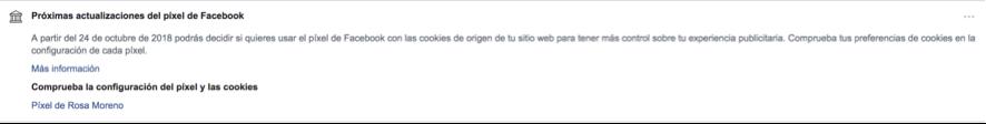 mensaje de facebook por la actualización del pixel