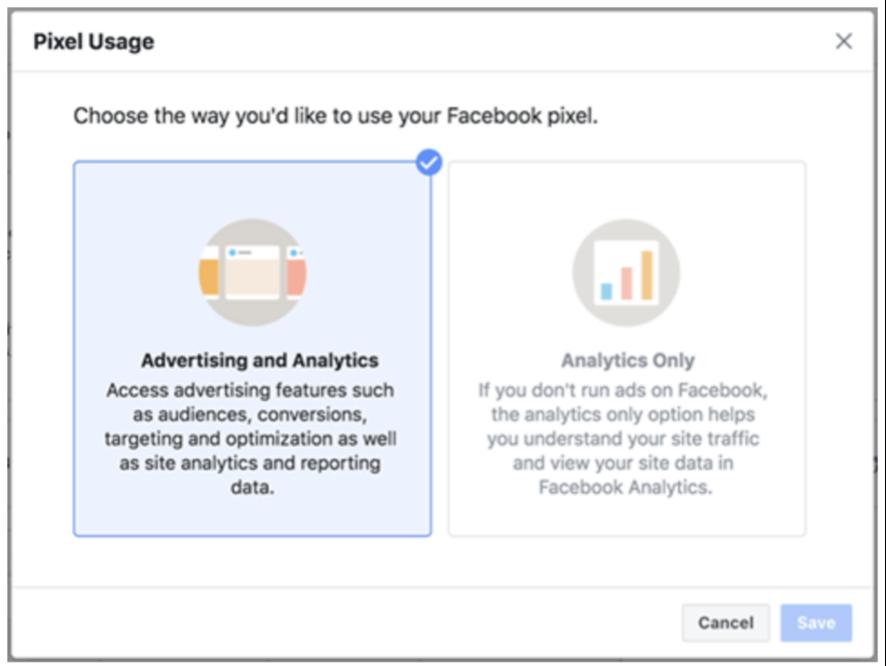 elegir el uso del pixel de facebook