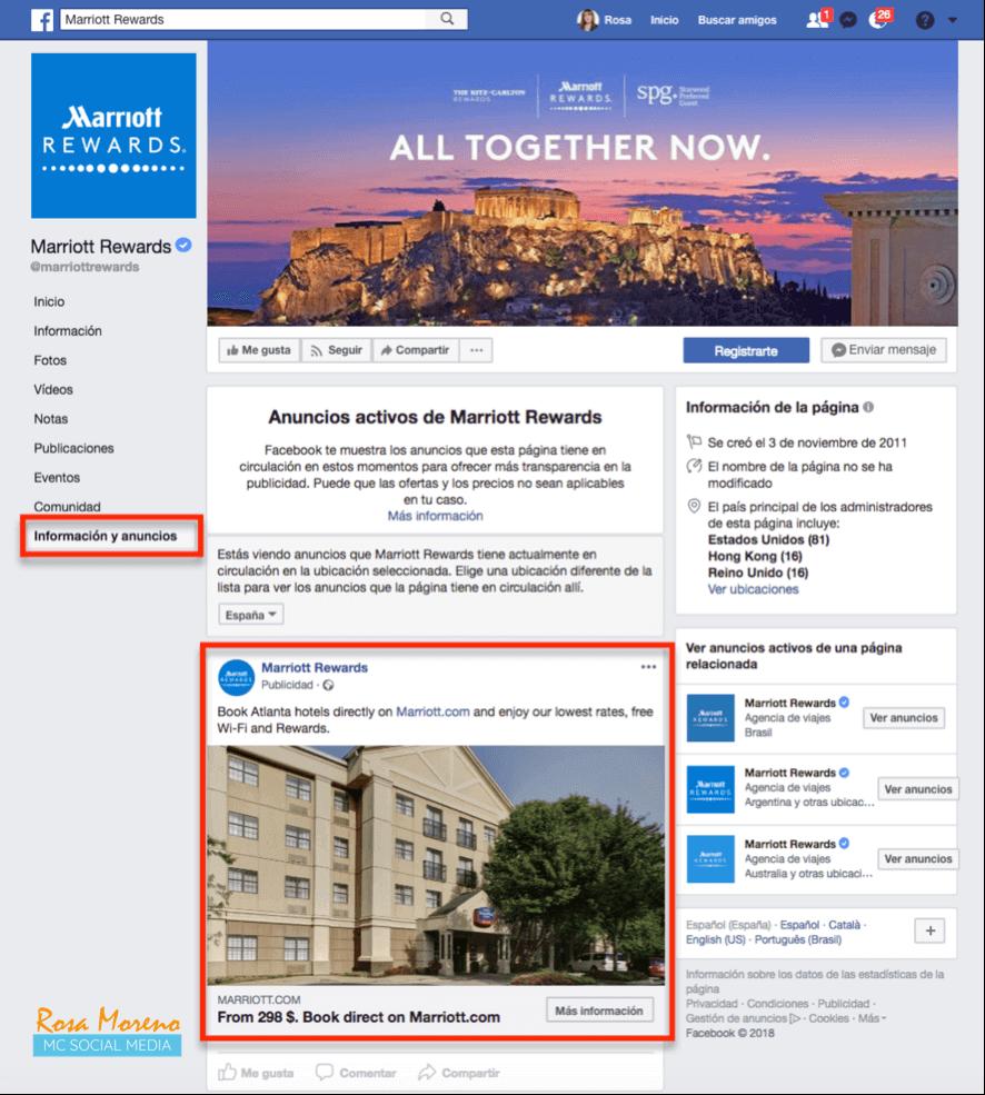 como espiar anuncios competencia en facebook ads menu lateral facebook seccion informacion y anuncios ejemplo hotel
