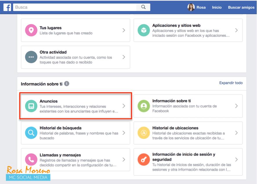como espiar anuncios competencia en facebook ads perfil personal informacion sobre ti seccion anuncios