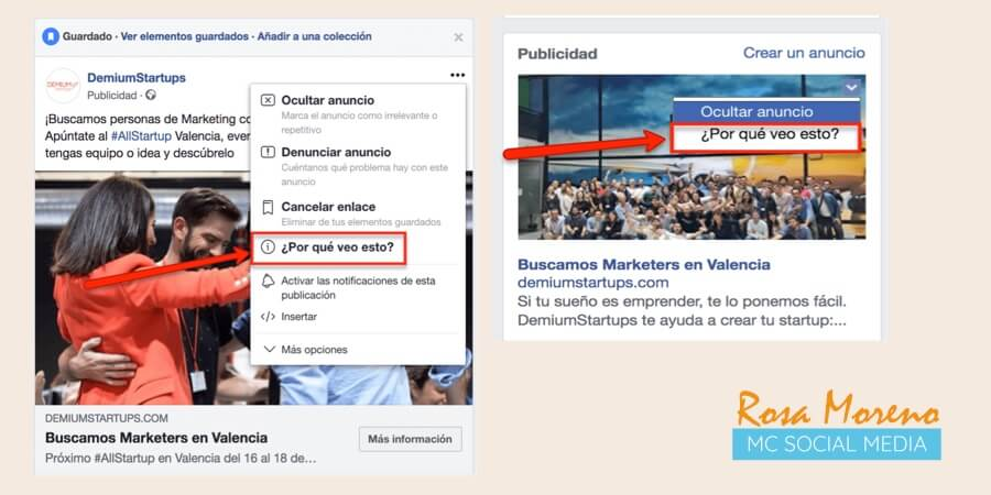 como espiar anuncios competencia en facebook ads ver segmentacion competencia con opcion por que veo esto
