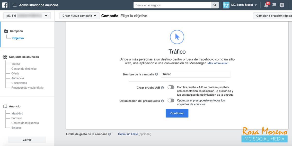 aprende facebook ads desde cero paso a paso seleccion objetivo marketing trafico