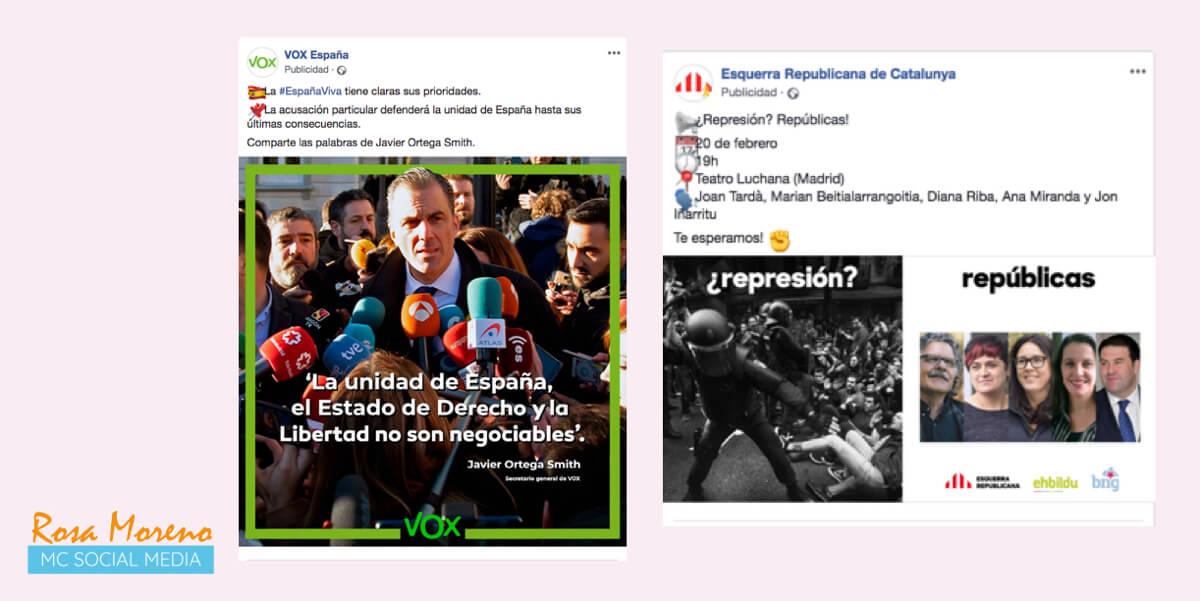 campañas publicitarias facebook para partidos politicos lideres politicos anuncios vox esquerra republicana catalunya