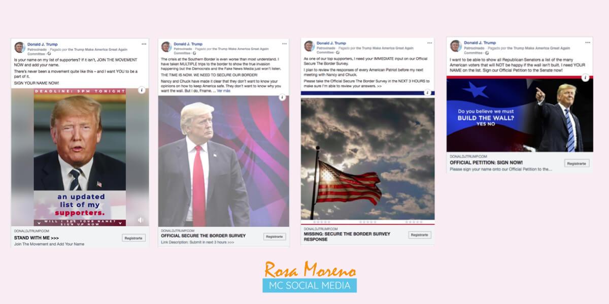 Campanas publicitarias Facebook para partidos politicos lideres politicos ejemplo anuncios pagina Donald Trump