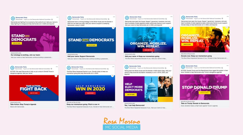 campañas publicitarias facebook para partidos politicos lideres politicos ejemplo anuncios pagina partido democrata