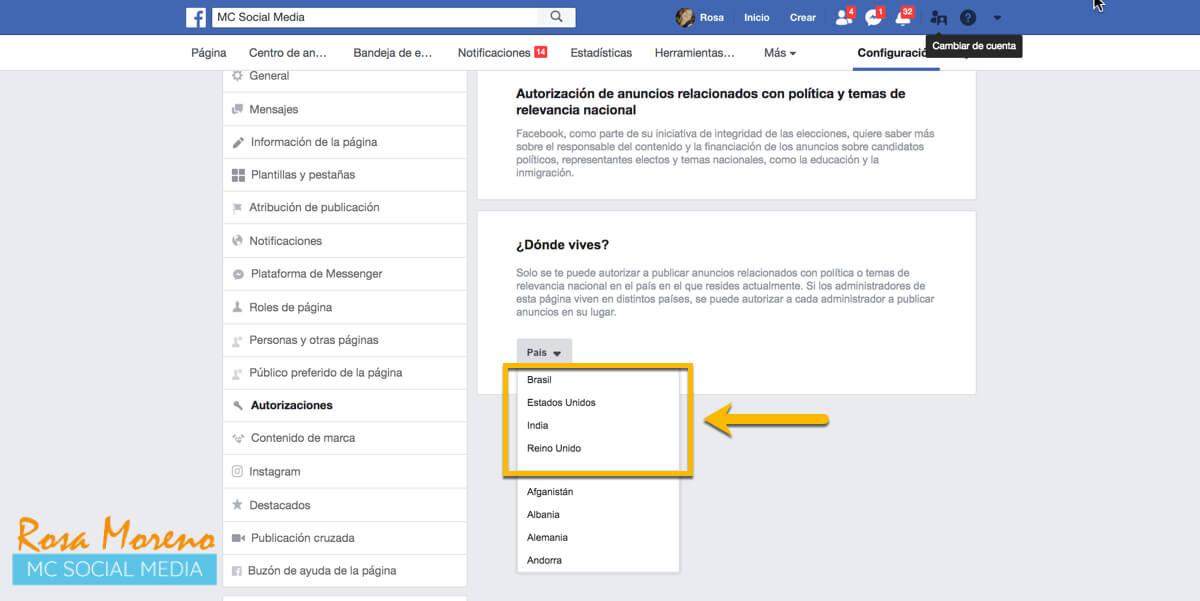 campañas publicitarias facebook para partidos politicos lideres politicos inicio solicitud autorizacion anuncios politicos para EEUU UK India Brasil