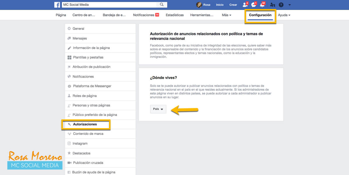 campañas publicitarias facebook para partidos politicos lideres politicos menu configuracion seccion autorizaciones escoger pais