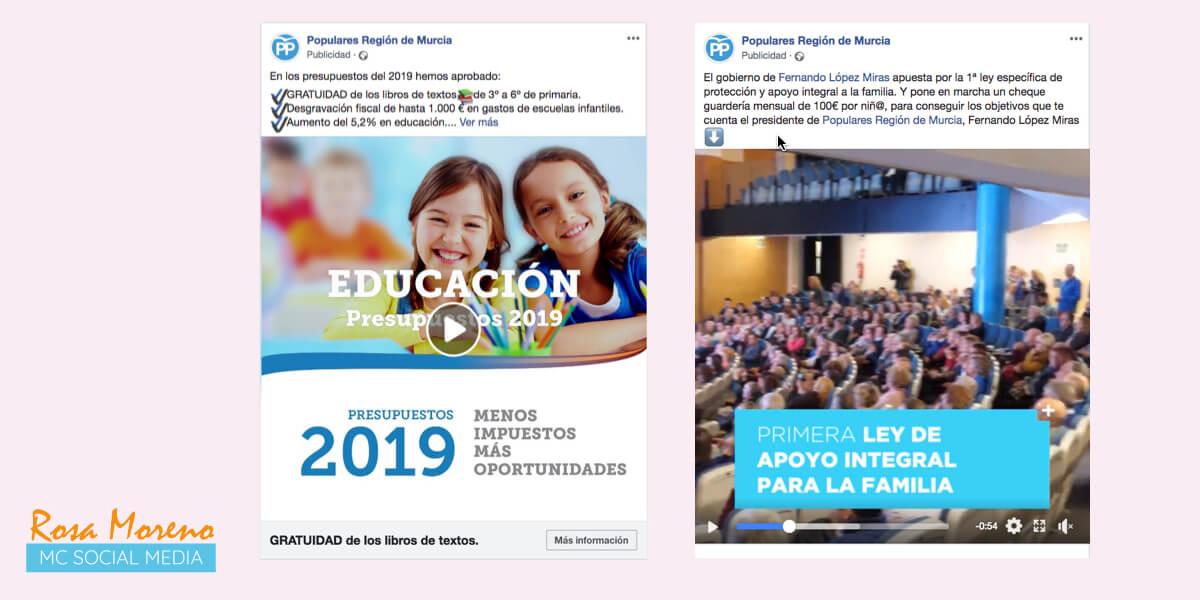 campañas publicitarias facebook para partidos politicos lideres politicos partido popular region de murcia