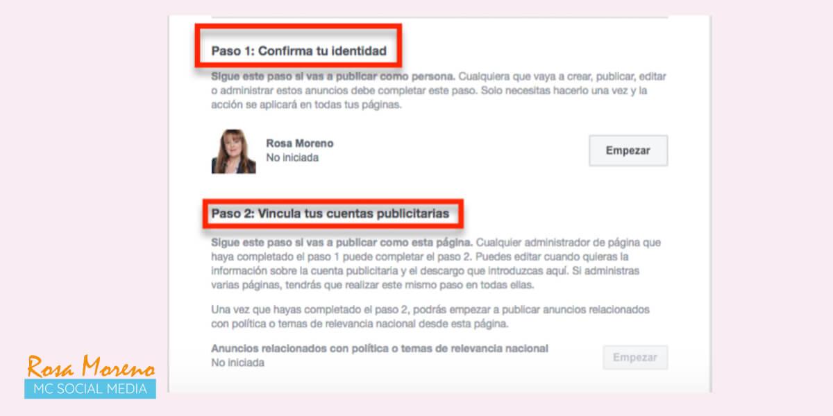 campañas publicitarias facebook para partidos politicos lideres politicos proceso autorizacion confirmar identidad vincular cuentas publicitarias