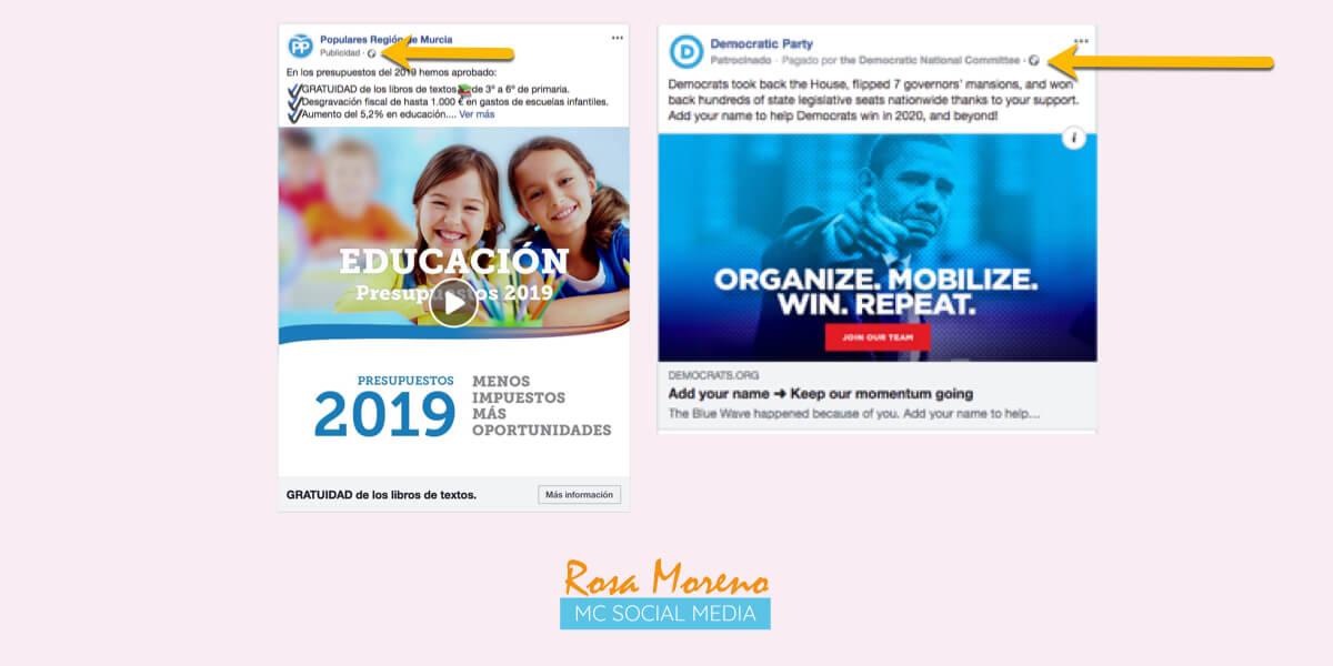 campañas publicitarias facebook para partidos politicos lideres politicos requisitos especiales anuncios estados unidos ejemplo