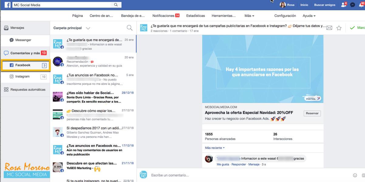 como eliminar comentarios negativos anuncios facebook publicidad facebook ads bandeja de entrada seccion comentarios facebook