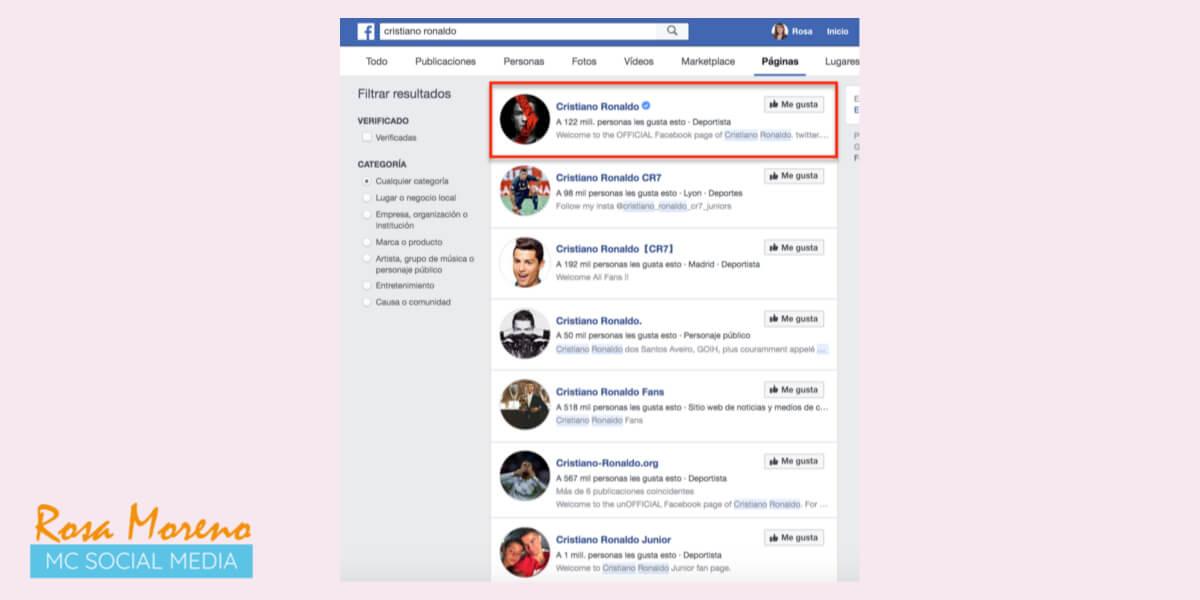 como verificar pagina perfil facebook ejemplo busqueda facebook cristiano ronaldo