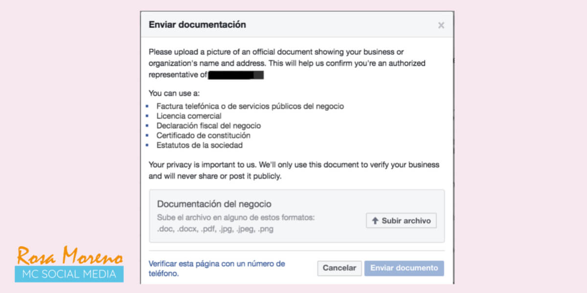 como verificar pagina perfil facebook verificacion pagina mediante envio documentos