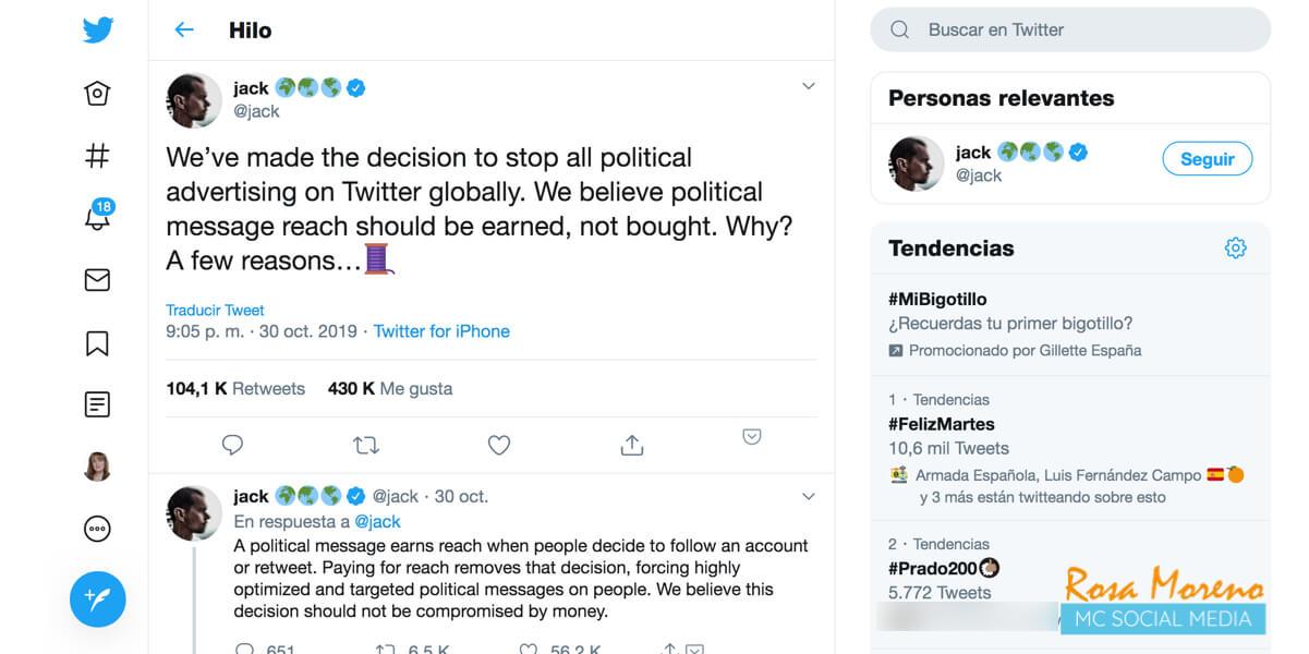 twitter prohibe la publicidad política tuit jack dorsey ceo twitter